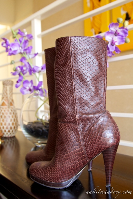 Cole Haan snake print brown boots