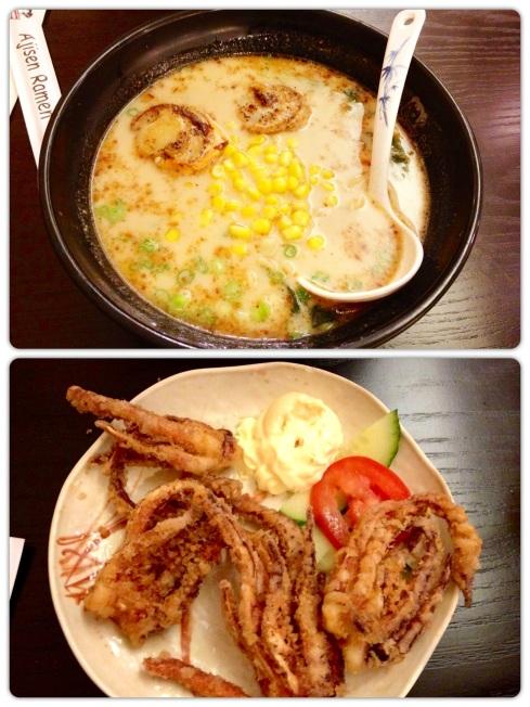 Hokkaido scallop ramen and fried calamari
