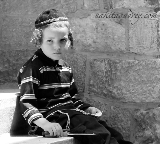 Jewish Hassidic boy old city jerusalem israel