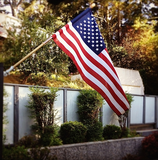 American flag on Memorial day
