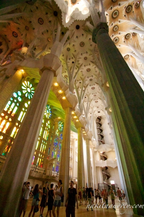 La sagrada familia interior Barcelona Spain